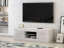 Modern TV Unit Cabinet Stand High Gloss 2 Doors and Matt Body Sideboard White