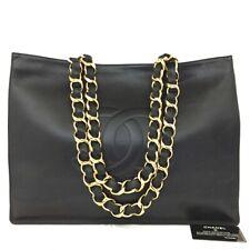 CHANEL CC Logo Lambskin Chain Large Shoulder Tote Bag Black /20107