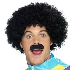 80's Scouser Black Afro Wig + Moustache Set Mens Tach Kit 118 Fancy Dress