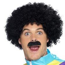 Negro Scouser peluca hombre Años 80 disfraz personaje afro bigote Smiffys 42248