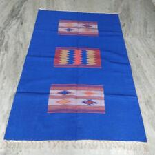 4'x6' Feet Handmade Blue Cotton Rug Patchwork Home Decor Carpet DN-334