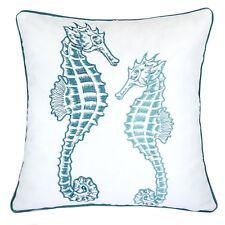 Homey Cozy Embroidery Teal Velvet Seahorse Throw Pillow Cover,Ocean Series Nauti