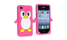 Hot Dark Pink Penguin Silicone Case / Cover for Iphone 4 / 4S