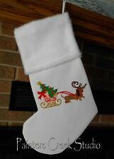 Dachshund & Sleigh, Doxie HANDMADE EMBROIDERED CHRISTMAS STOCKING