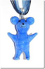 Pendentif verre style murano nounours bleu kawaï fantaisie teddy bear bijou mode