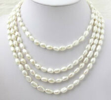 4 Rows Genuine White Freshwater Baroque Pearl White Gold Plated Clasp Necklace