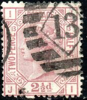 1878 Sg 141 2½d rosy mauve 'JI' Plate 13 with Duplex Cancellation Fine Used