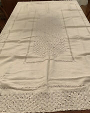 "Antique Vintage Ivory Linen And Lace Embroidered Tablecloth 51 1/2"" X 85 1/2"
