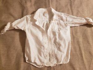 Gymboree Shirt Toddler Boy Size 3T Long Sleeve Button Up White