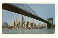Vtg UAL United Airlines Air Lines Postcard Manhattan Bridge Boats Buildings