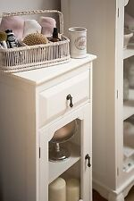 Marcella Display Cabinet Ivory MDF Bedside Cupboard Storage Unit With Drawer New