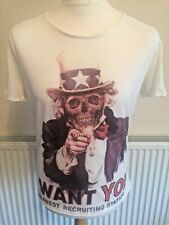 """ASOS I Want You T-Shirt Large Chest 40"""" Skull Top Hat USA Military Enlistment"""