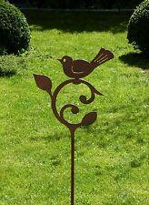 Vogel auf Ornament  Gartenstab Stele Stecker Edelrostoptik Gartendekoration