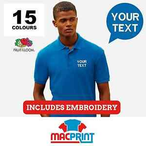 Fruit of the Loom SS402 65/35 Pique Polo Shirt Embroidered Polos. Personalised.