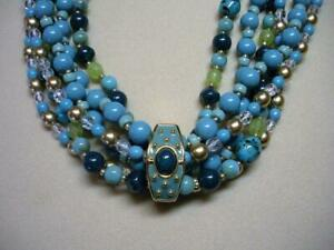 JOAN RIVERS 3 STRAND FAUX TURQUOISE BEAD NECKLACE W/ GOLD EP ENAMEL CLASP NEW