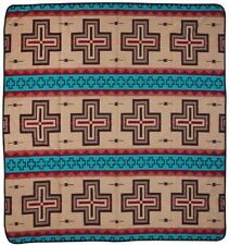 Queen Cotton Blend Trade Blanket Throw Reversible Bedspread Pueblo Cross 88x96