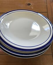 """Vintage Gibson Everyday China Blue Stripe/ Rings Dinner Plates 10 3/4"""" lot of 3"""