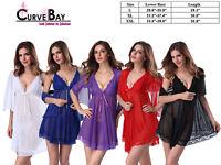 Women Sexy 3 Piece Lace V-Neck Lingerie Set Chemise Babydoll Sleepwear Nightgown