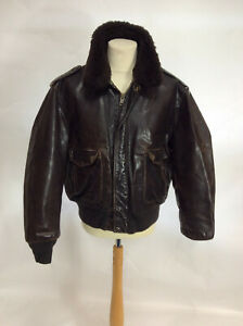 """Schott USA Leather Flight Flying Jacket With removable lining 50"""" chest"""