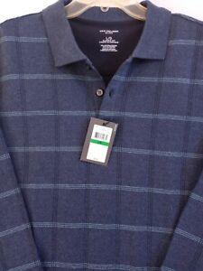 New Van Heusen Men's Knit Lrg Polo Blue,Grey Sweater Flex Classic Fit $56