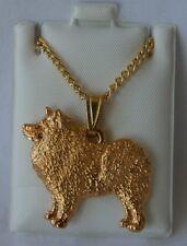 Samoyed Dog 24K Gold Plated Pewter Pendant Chain Necklace Set