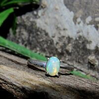 Natural Ethiopian Fire Opal Oval Cabochon 925 Sterling Silver Charm Women Ring
