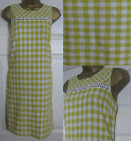NEW Next Shift Tunic Dress Linen Blend Sleeveless Summer Gingham Yellow 6-22