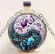 Ying Yang Butterfly Cabochon Glass Tibet Silver Chain Pendant  Necklace