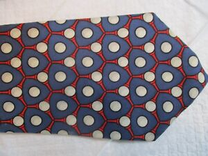"""Beautiful """"Golf Balls & Tees"""" by HERMES of France 100% Silk Neck Tie"""