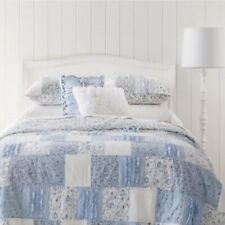 Simply Shabby Chic Bohemian Patchwork Twin Quilt ONLY! Blue White Ruffles