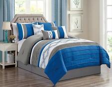 Luxury Strip Pattern Comforter Set Bed In A Bag Microfiber Bedding Set,King Blue
