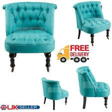 Designer Light Blue Tub Chair Sofa Lined Polyester Fabric Bedroom Armchair Seat