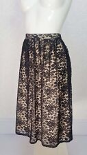 ATMOSPHERE sheer Black lace Beige lining Midi pleated flare flippy skirt 14 W32