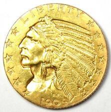 1909-D Indian Gold Half Eagle $5 Coin - Choice AU / UNC Details - Rare Coin!
