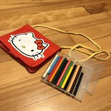 1980's Vintage Sanrio - Hello Kitty - Plastic Purse with Colored Pencil Set/Pad