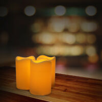 3PCS Indoor/Outdoor Flameless Battery Operated Plastic Pillar Led Candle Light