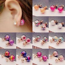 Fashion Women's Flower Crystal Glass Ball Ear Stud Earrings Double side