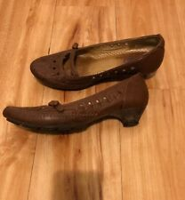 Indigo by Clarks Kitten Heel Mary Janes Pumps Brown Leather 8.5 women's
