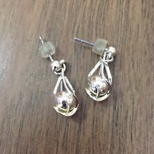 Silver drop earrings with ball