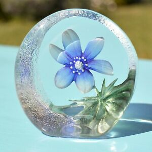 Mats Jonasson 33920 Blue Windflower Etched Crystal Flower