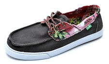 Sanuk TROPICAL SHIPWRECKED Brown Canvas Sidewalk Surfers Sneakers Men's - NEW