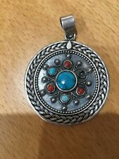 Vintage Tribal Heavy Round Woven Turquoise & Coral Sterling Silver Coral Pendant