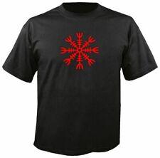 AEGISHJALMUR HELM OF AWE BLACK T SHIRT, red, men's thor viking asatru rune odin