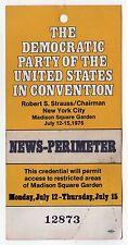 1976 PRESIDENT JIMMY CARTER DNC Press MEDIA News PASS Ticket CONVENTION NYC