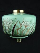 ANTIQUE GLASS OIL LAMP FONT SUPERB HAND PAINTED / ENAMELLED FLORAL DECORATION