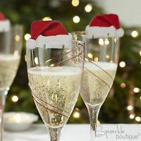 Christmas Glass Decorations / Place Name Cards x 10 - Xmas Party Table Settings
