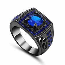 Fashion Women's Size 8 Rare Blue Sapphire Halo 10K black Gold Filled  Ring
