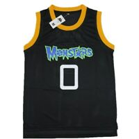 Mens Monstars #0 Alien Space Jam Movie Monsters Black Basketball Jersey Stitched