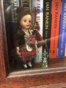 "Vintage Scottish Doll Kilt & Bagpipes Scotland 7"" Tall Eyes Open & Close"