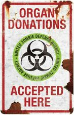 Organ Donations Accepted Here Zombie Metal Sign Halloween Decoration Prop NEW